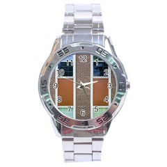 Pattern Symmetry Line Windows Stainless Steel Analogue Watch by Nexatart