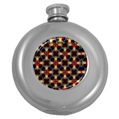 Kaleidoscope Image Background Round Hip Flask (5 Oz) by Nexatart