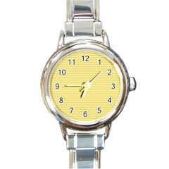 Pattern Yellow Heart Heart Pattern Round Italian Charm Watch