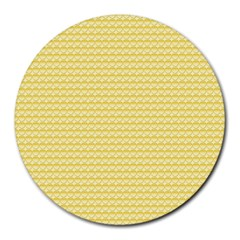 Pattern Yellow Heart Heart Pattern Round Mousepads