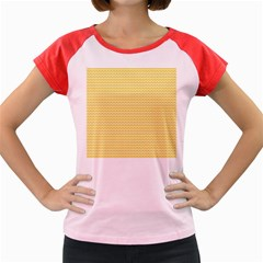 Pattern Yellow Heart Heart Pattern Women s Cap Sleeve T-Shirt