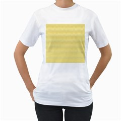 Pattern Yellow Heart Heart Pattern Women s T-Shirt (White) (Two Sided)