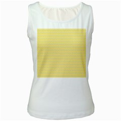 Pattern Yellow Heart Heart Pattern Women s White Tank Top