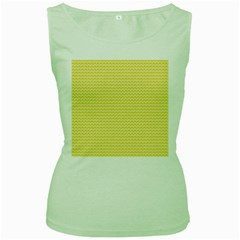 Pattern Yellow Heart Heart Pattern Women s Green Tank Top