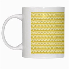 Pattern Yellow Heart Heart Pattern White Mugs