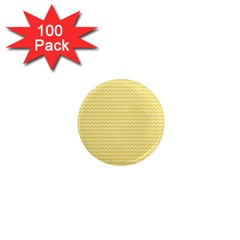 Pattern Yellow Heart Heart Pattern 1  Mini Magnets (100 Pack)  by Nexatart