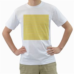Pattern Yellow Heart Heart Pattern Men s T-Shirt (White) (Two Sided)