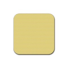 Pattern Yellow Heart Heart Pattern Rubber Square Coaster (4 pack)