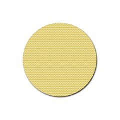 Pattern Yellow Heart Heart Pattern Rubber Coaster (Round)