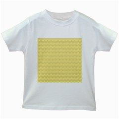 Pattern Yellow Heart Heart Pattern Kids White T-Shirts