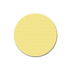 Pattern Yellow Heart Heart Pattern Magnet 3  (Round)