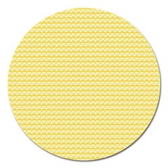 Pattern Yellow Heart Heart Pattern Magnet 5  (Round)