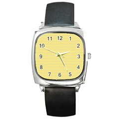 Pattern Yellow Heart Heart Pattern Square Metal Watch