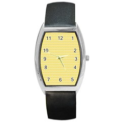 Pattern Yellow Heart Heart Pattern Barrel Style Metal Watch