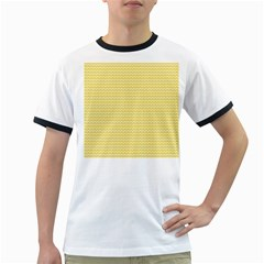 Pattern Yellow Heart Heart Pattern Ringer T-Shirts