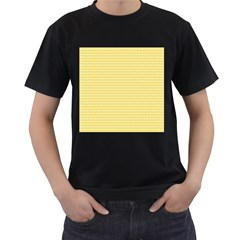 Pattern Yellow Heart Heart Pattern Men s T-Shirt (Black) (Two Sided)