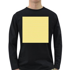 Pattern Yellow Heart Heart Pattern Long Sleeve Dark T-Shirts