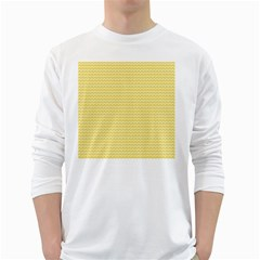 Pattern Yellow Heart Heart Pattern White Long Sleeve T-Shirts