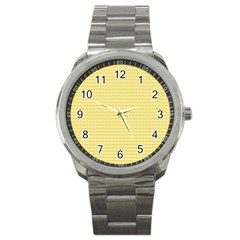 Pattern Yellow Heart Heart Pattern Sport Metal Watch