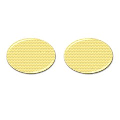 Pattern Yellow Heart Heart Pattern Cufflinks (Oval)