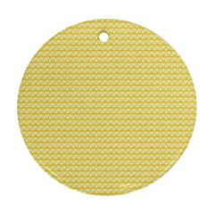 Pattern Yellow Heart Heart Pattern Round Ornament (Two Sides)
