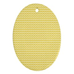 Pattern Yellow Heart Heart Pattern Oval Ornament (Two Sides)
