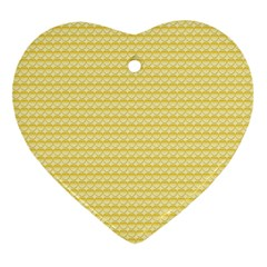 Pattern Yellow Heart Heart Pattern Heart Ornament (Two Sides)