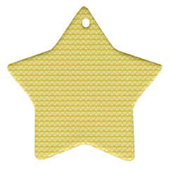 Pattern Yellow Heart Heart Pattern Star Ornament (Two Sides)