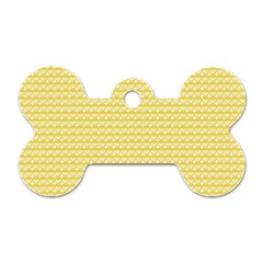 Pattern Yellow Heart Heart Pattern Dog Tag Bone (Two Sides)