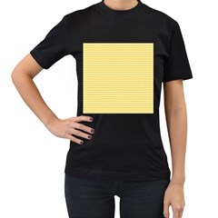 Pattern Yellow Heart Heart Pattern Women s T-Shirt (Black)