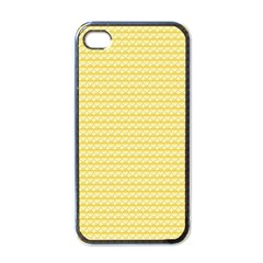 Pattern Yellow Heart Heart Pattern Apple iPhone 4 Case (Black)