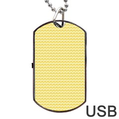 Pattern Yellow Heart Heart Pattern Dog Tag USB Flash (One Side)