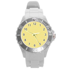 Pattern Yellow Heart Heart Pattern Round Plastic Sport Watch (L)