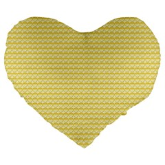 Pattern Yellow Heart Heart Pattern Large 19  Premium Heart Shape Cushions