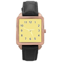 Pattern Yellow Heart Heart Pattern Rose Gold Leather Watch