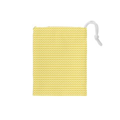 Pattern Yellow Heart Heart Pattern Drawstring Pouches (Small)
