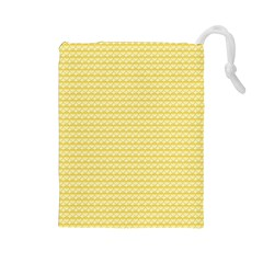 Pattern Yellow Heart Heart Pattern Drawstring Pouches (Large)