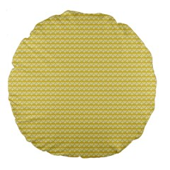 Pattern Yellow Heart Heart Pattern Large 18  Premium Flano Round Cushions