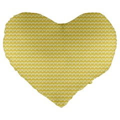 Pattern Yellow Heart Heart Pattern Large 19  Premium Flano Heart Shape Cushions