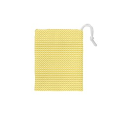 Pattern Yellow Heart Heart Pattern Drawstring Pouches (XS)