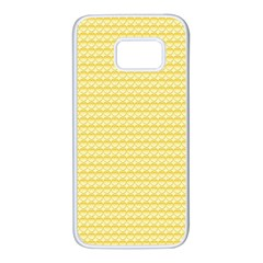 Pattern Yellow Heart Heart Pattern Samsung Galaxy S7 White Seamless Case