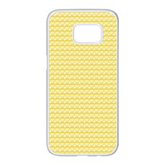 Pattern Yellow Heart Heart Pattern Samsung Galaxy S7 edge White Seamless Case