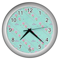 Flower Pink Love Background Texture Wall Clocks (silver)  by Nexatart