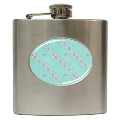Flower Pink Love Background Texture Hip Flask (6 Oz)