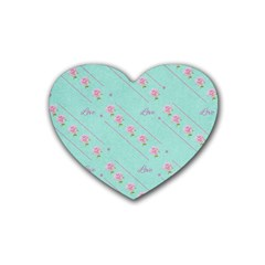 Flower Pink Love Background Texture Rubber Coaster (heart)  by Nexatart