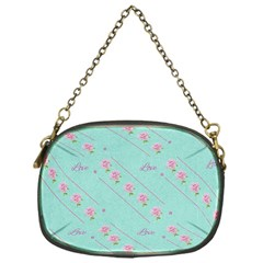 Flower Pink Love Background Texture Chain Purses (one Side)