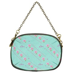 Flower Pink Love Background Texture Chain Purses (two Sides)