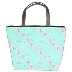 Flower Pink Love Background Texture Bucket Bags