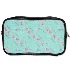 Flower Pink Love Background Texture Toiletries Bags by Nexatart