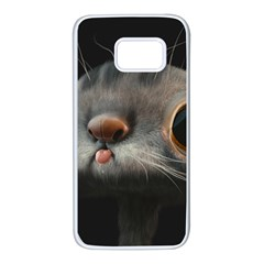 Big Eyes Doofy Cartoon Cat Samsung Galaxy S7 White Seamless Case by TailWags